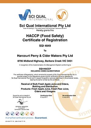 Harcourt Perry Cider Makers SQI-456 HACCP 2017 eCert