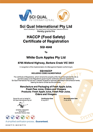 White Gum Apples SQI-456 HACCP 2017 eCert
