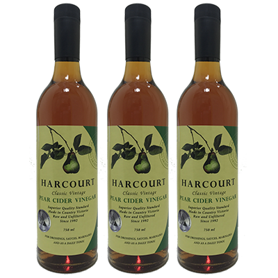 Harcourt Pear Cider Vinegar – 8YO (750ml – 6 Bottles / Case)
