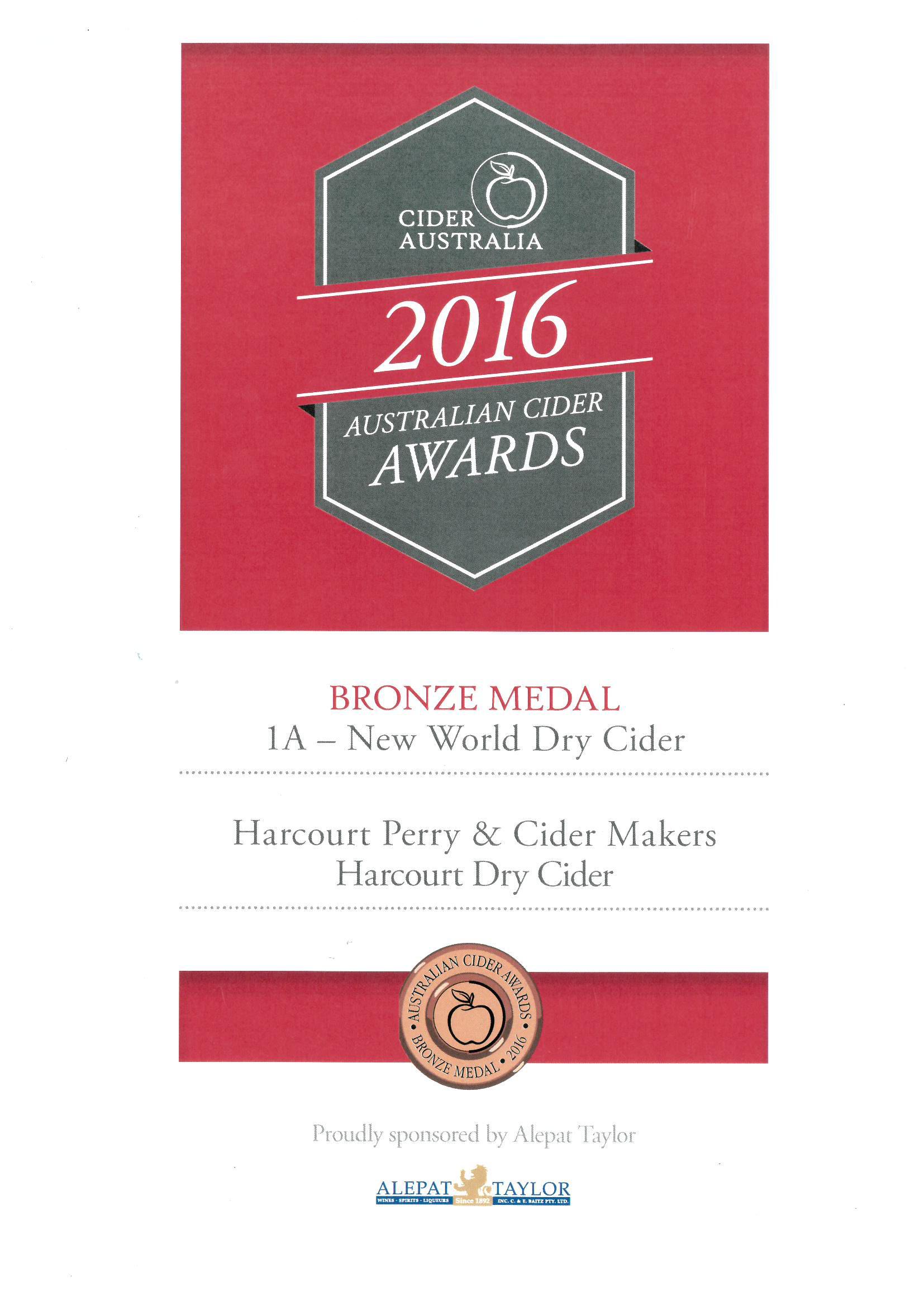 Cider Aust 2016 Dry Cider Bronze