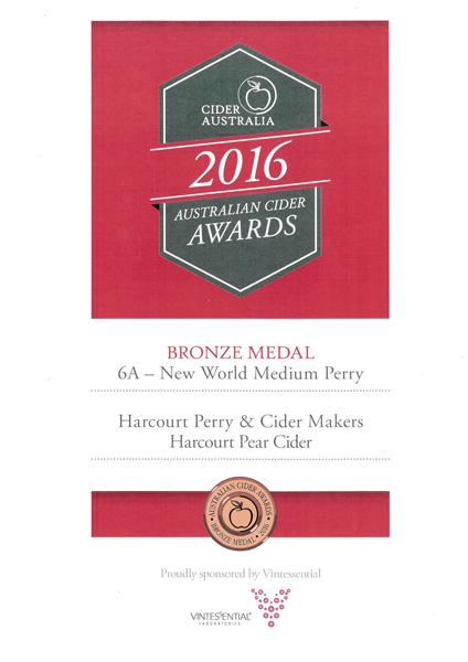 Cider Australia 2016 Perry Bronze