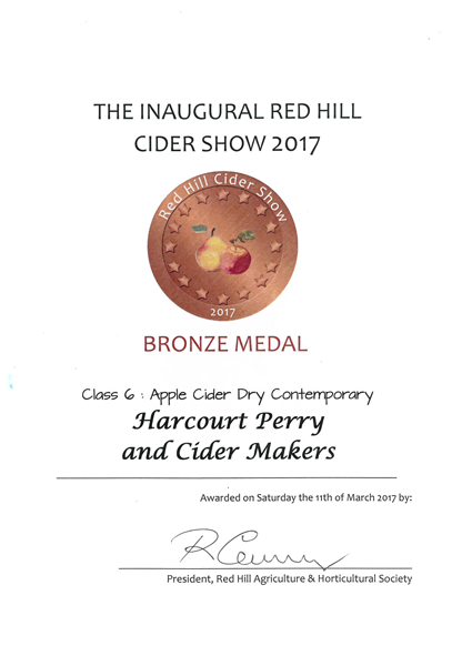 Red Hill 2017 Dry Cider Bronze