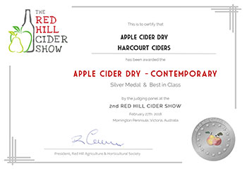 Red Hill Cider 2018 - Apple Cider Dry - Contemporary