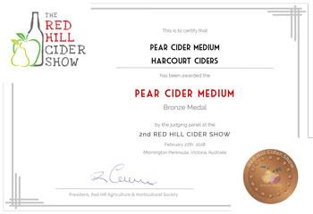 Harcourt Cider - Red Hill Show - Cider Awards