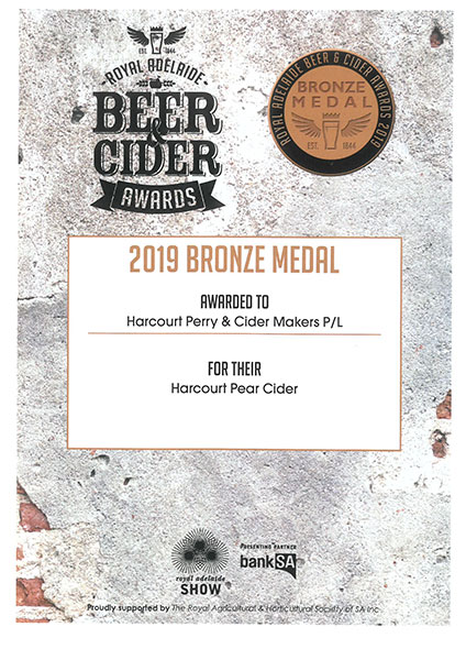 Royal Adelaide 2019 Pear Cider Bronze